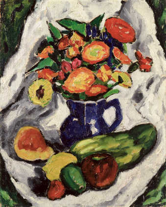 still life of blue vase with flowers.  In front of vase 6 pieces of fruit or vegetables all on a...