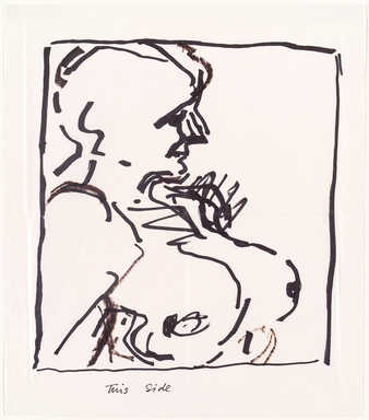 line drawing in black ink of a nude woman from the chest up (interpratation of the painting...