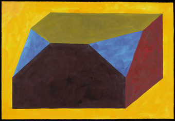 cubic rectangle shape with two front corners removed; yellow background