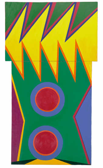 geometric shapes painted in bright colors.  Jagged saw toothed forms at top and circular forms...