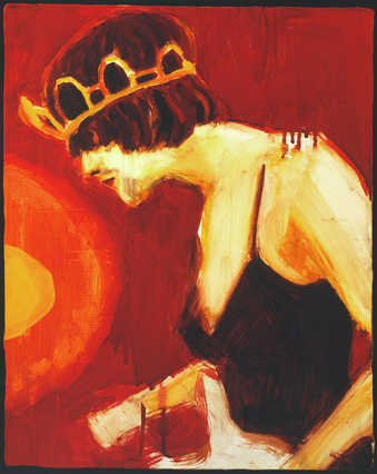Painting of the late Kurt Cobain wearing a woman's dress and tiara while performing with his...