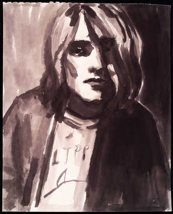portrait of muscian, Kurt Cobain