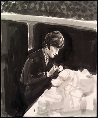 John Lennon seated at a table having a drink