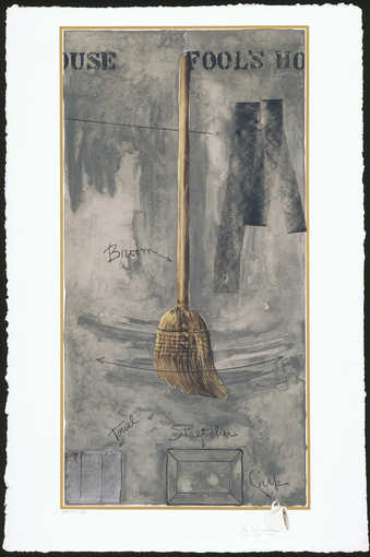 An image of a broom on a grey background.  Line image of towel BL, stretcher BC.  An image of a...