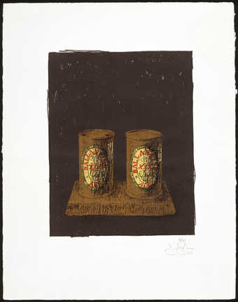 Image of two Ballantine Cans against a black field