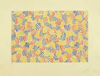 A composition comprised of groupings of colored lines, yellow, red, blue.  An intaglio print from...