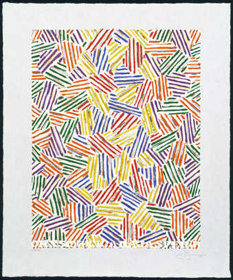 An image comprised of groupings of colored lines red, yellow, blue, green, purple printed over...