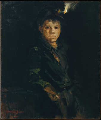Portrait of a young working man in repose, wearing a hat with a candle light.  The details of the...