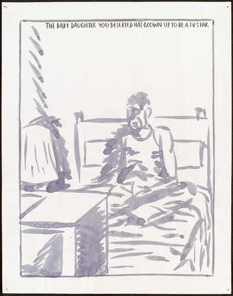 drawing of a man lying in bed in front of a television;text reads &amp;quot;The baby daughter you...