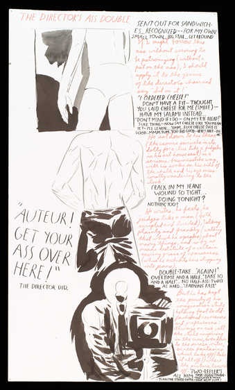 "a sequence of the rear shots; text reads ""The director's ass double.  Sent out for ..."