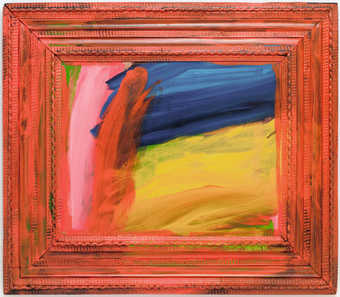An abstract composition contained within a historic frame that has been painted  day-glo  orange.