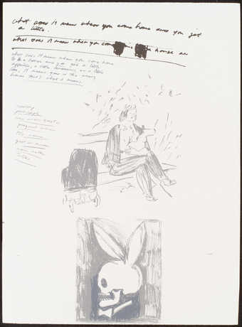 portfolio of 12 lithographs; each sheet has a collage of jokes and images printed in subtle...