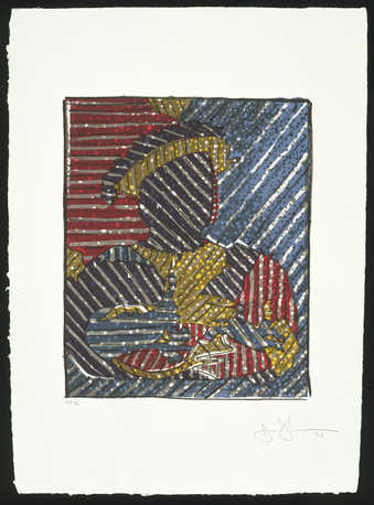 An image of a seated man wearing a hat, printed with diagonal lines through the image and...