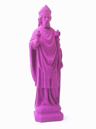 A small statue of St. Nicolas, painted purple