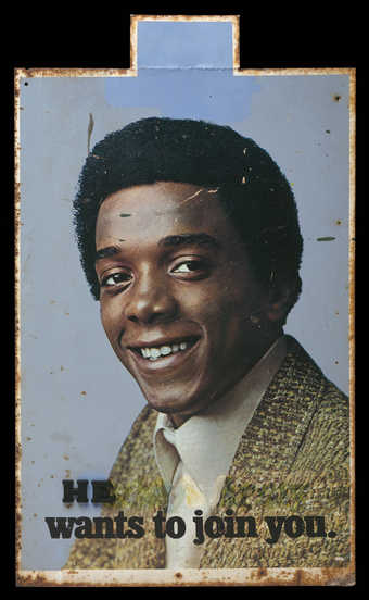 A double-sided found army recruiting sign circa 1971, picturing an African-American man.  The...