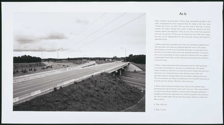 Photograph of a highway interchange on the left side of sheet.  Cinematic description of...