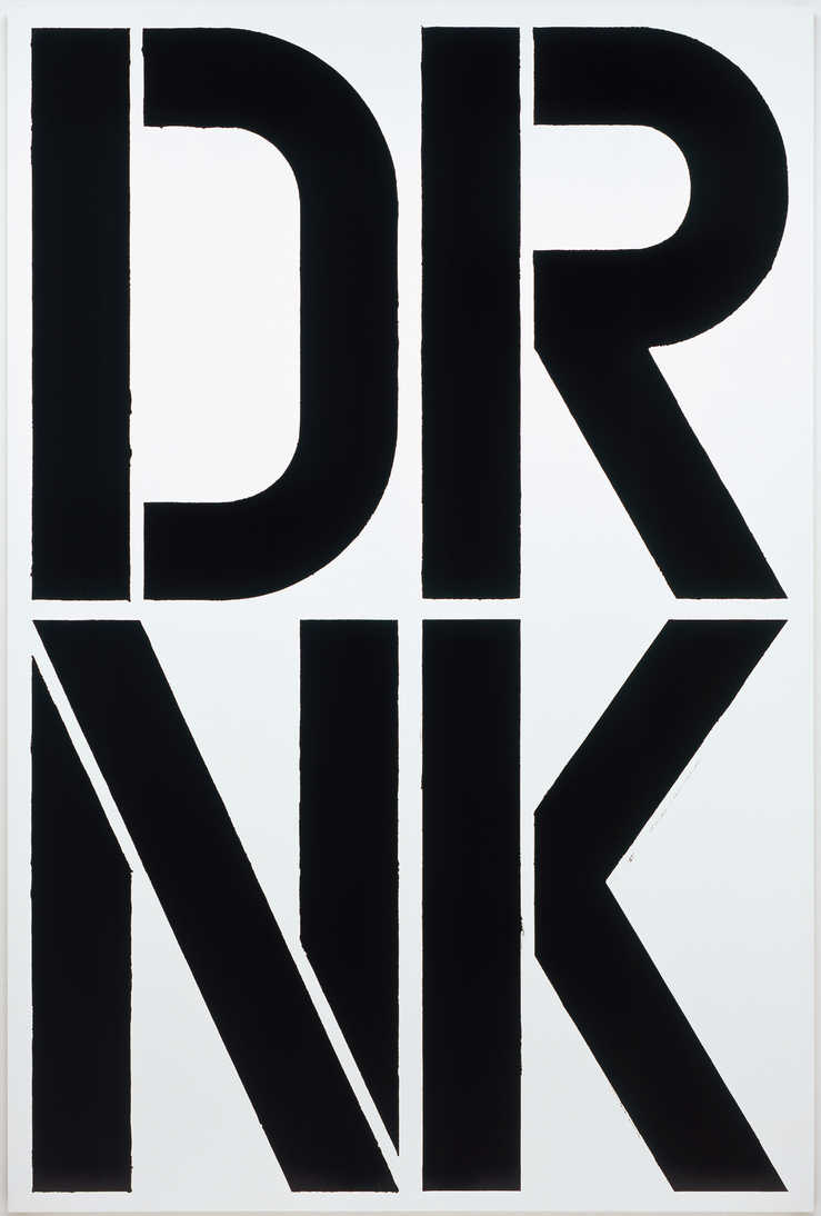 "Two rows of black letters on a white ground ""DRNK"""