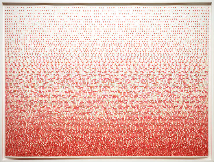 A print composed entirely of text, printed in red.