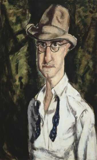 portrait of an elongated man with open shirt and untied tie wearing a hat and glasses