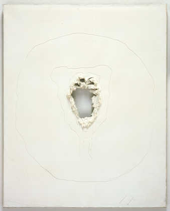 a white painted canvas with a central hole.  around the edges of the hole paint is applied thickly.