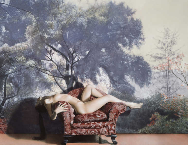 photorealist view of a nude woman recling over the arms of a chair in front of a backdrop of...