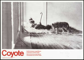 "Photographs and text by Caroline Tisdall, documenting the action ""Coyote"" in the René..."