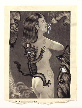 Vintage pornography onto to which the artist has drawn.  An image of a woman with a devil-like...