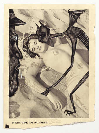 Vintage pornography onto to which the artist has drawn.  A devil like figure on top of a...