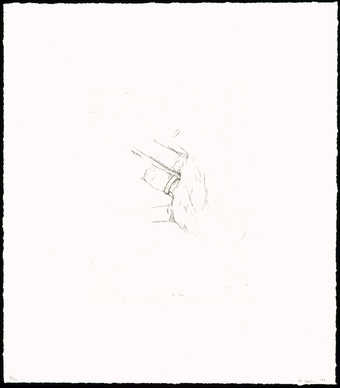 A black-and-white line drawn image of a hand with a ring on the ring-finger.  Print published and...