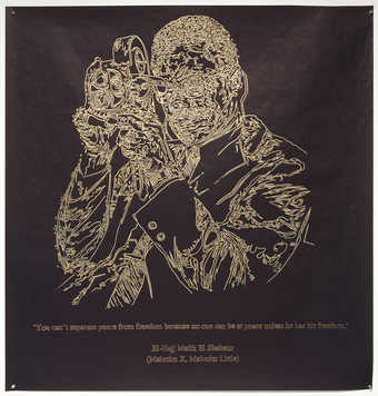 A line drawn image of Malcolm X holding a movie camera executed in gold paint on fadeless black...