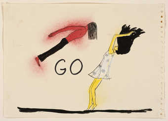 "A image of a floating man and woman with the word ""GO"" between them, Drawn on a sheet..."
