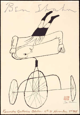 An image of a man performing a handstand on the handle bars of a tricycle.  A poster for an...