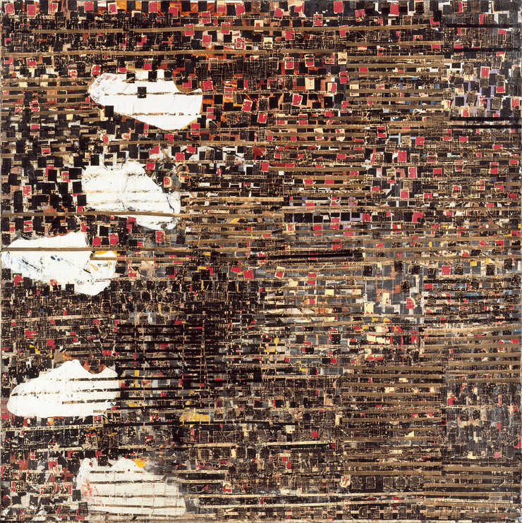 A large scale collage made of printed billboard images and end papers used in hair treatment,...