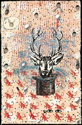 An image of a deer head emerging from a top  hat, stamped additions to the background include,...