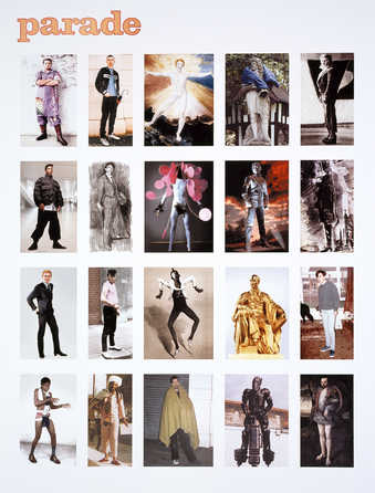 "The word ""Parade"" in gold over a grid of 20 images of men in various costume and poses."