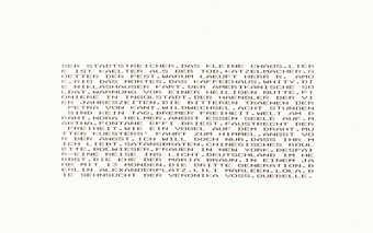 Black dot-matrix lettering on white paper. Text is German.