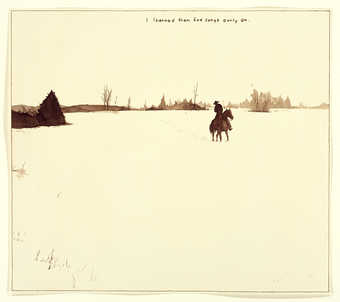 A silhouette image of a cowboy, riding horseback in field in front of a tree line.
