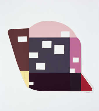 a collage of various colored geometric shapes, rectangular  voids are cut through the work.