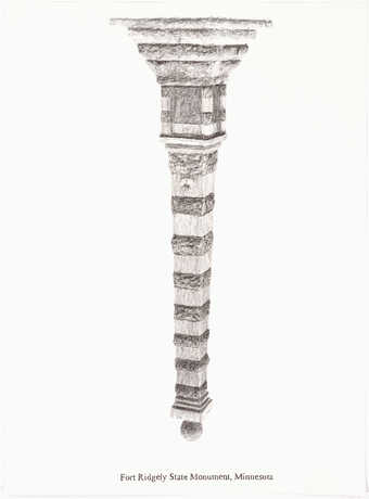 """A pencil drawn image of an inverted monument.  Text under the image """"Fort Ridgely State..."""