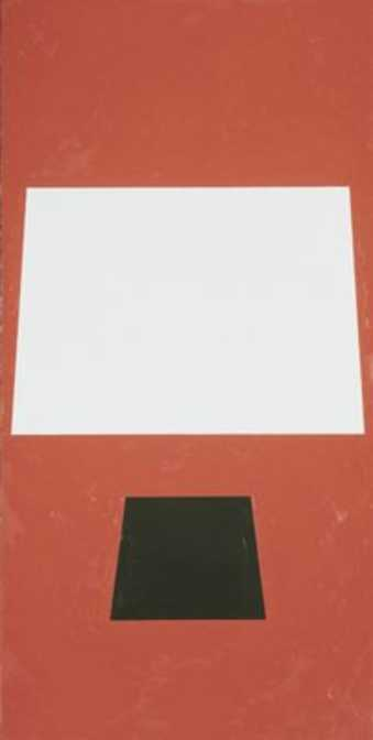 Bright red field.  Center large white trapezoid form.  LC  Smaller black trapezoid form.