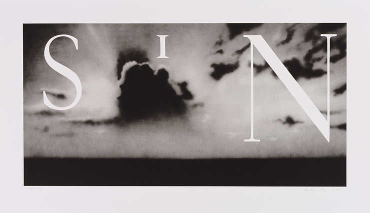 An image of the word SIN over a grey overcast sky.  A two color lithograph printed from two...