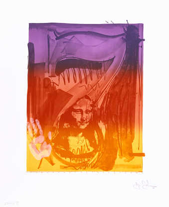 A color image of the figure 7 with an image of Mona Lisa superimposed, and a handprint BL.  A...
