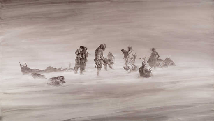 Group of Arabs and Eskimos caught in a snow/sand storm