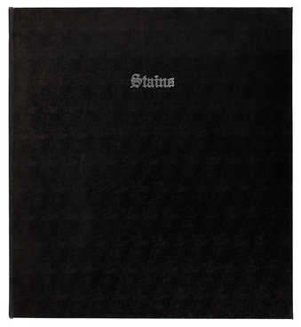 A book of 75 sheets of paper with various stains on them, listed by the artist on the contents...
