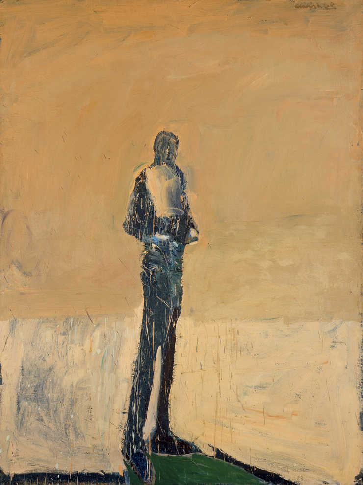 full length figure shown in silhouette stnading on a patch of green in front of an orange beige...