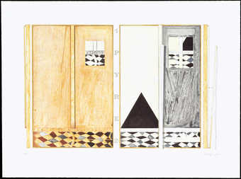 An image of room interiors and the profiles of catenary paintings.