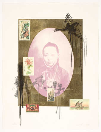 A oval formatted portrait of 19th century Chinese female prostitute, surrounded by gold leaf. ...