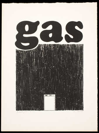 "The word ""gas"" above a black square, with an image of a metal gas can bottom center."
