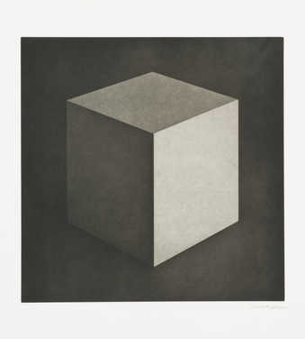 A gray-scale image of a cube printed from two plates.