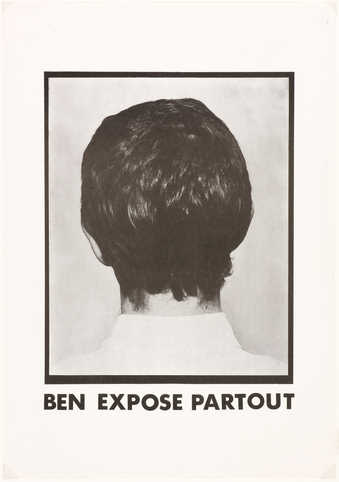 Printed offset black on white paper.  An image of the back of Vautier's head.